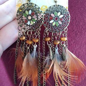 Feather boho earrings wood beads mandala hippie